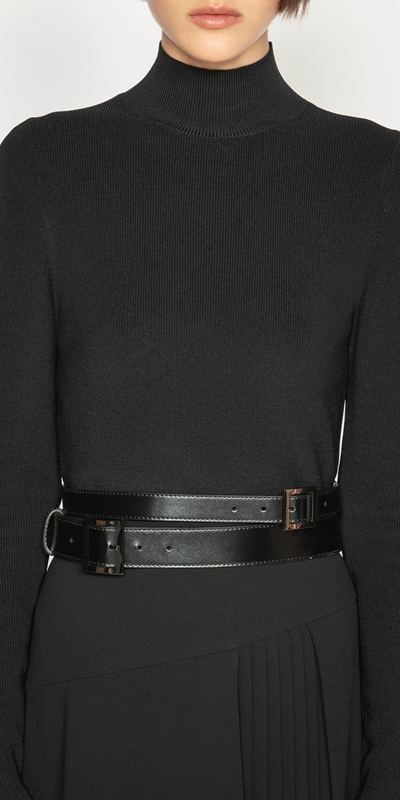 Accessories | Leather Double Buckle Belt