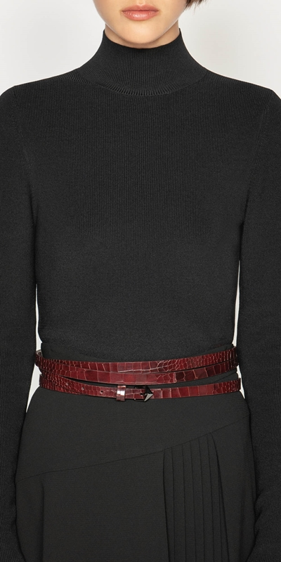 Accessories  | Burgundy Croc Wrap Belt