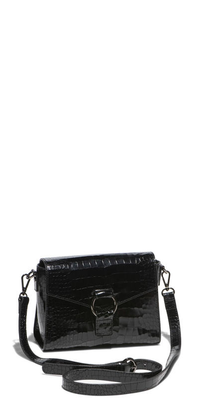 Accessories | Black Croc Crossbody Bag