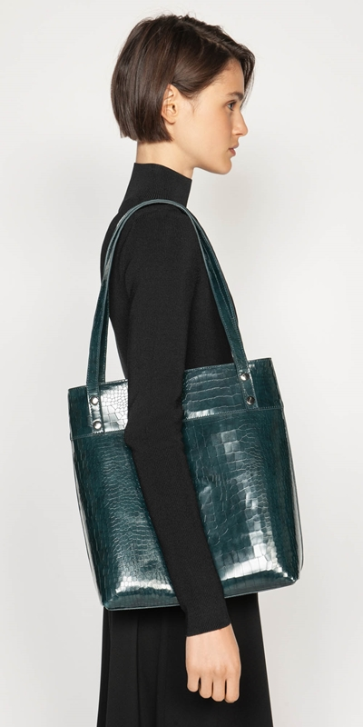 Accessories  | Dark Teal Croc Tote Bag