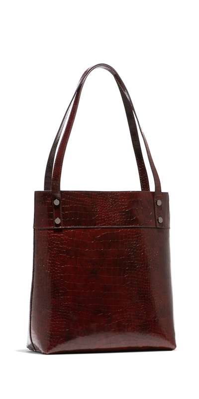 Accessories | Burgundy Croc Tote Bag