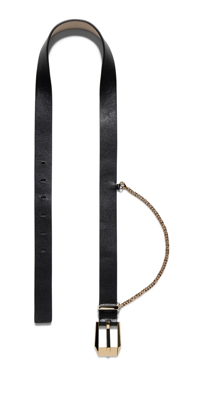 Accessories | Gold Chain Leather Belt