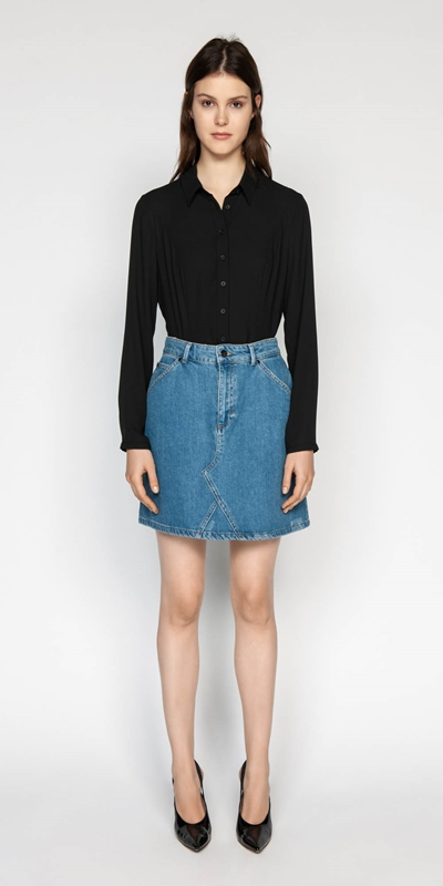 Skirts | High Rise Denim Mini Skirt