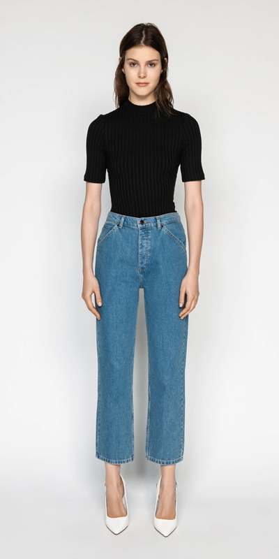 Pants | High Waist Cropped Straight Leg Jean