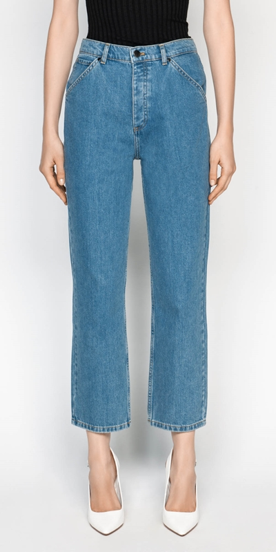Pants  | High Waist Cropped Straight Leg Jean