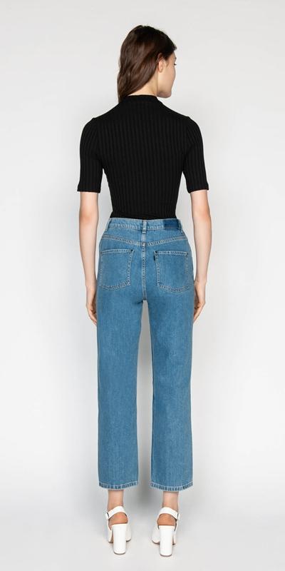 Pants   High Waist Cropped Straight Leg Jean