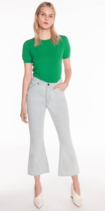 Pants | Mid Rise Waist Cropped Flare Leg Jean