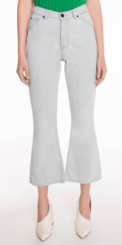 Pants  | Mid Rise Waist Cropped Flare Leg Jean