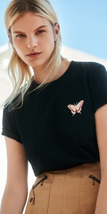 Tops | Butterfly Embroidered Tee