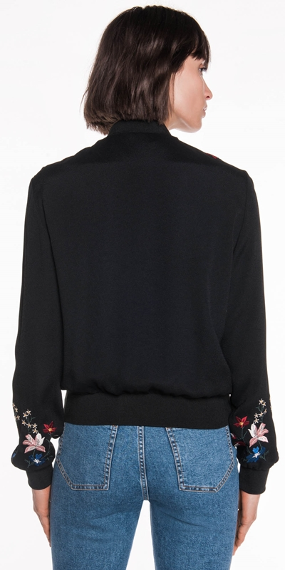 Jackets   Crepe Embroidered Bomber