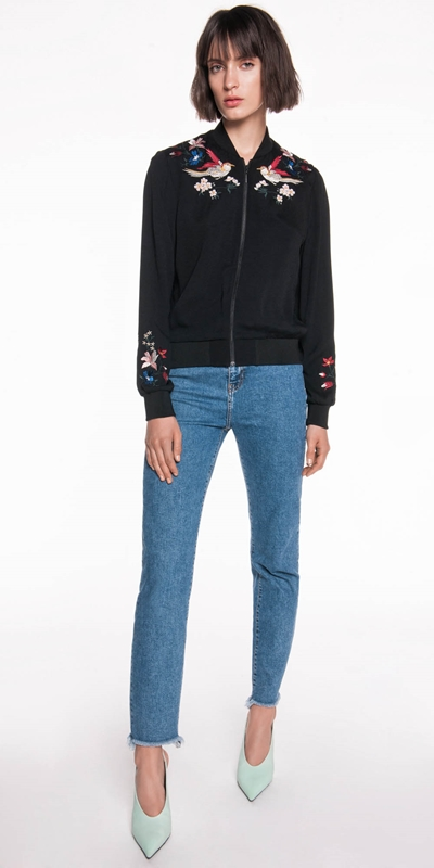 Jackets  | Crepe Embroidered Bomber