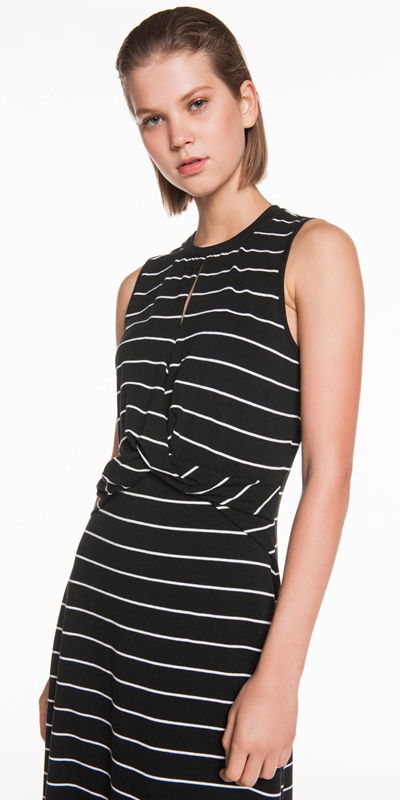 Sale  | Stripe Jersey Midi Dress