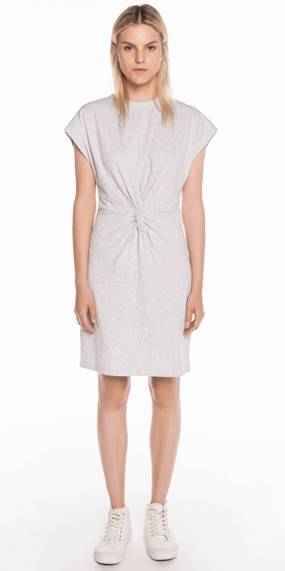 Dresses  | Grey Melange Cotton Jersey Dress
