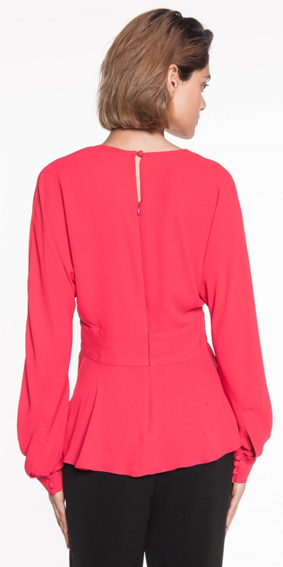 Shirts | Georgette Exaggerated Sleeve Peplum Top