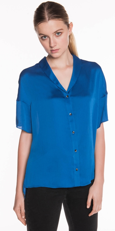 Tops  | Textured Satin Relaxed Shirt