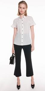 Shirts | Textured Stripe Frill Sleeve Shirt