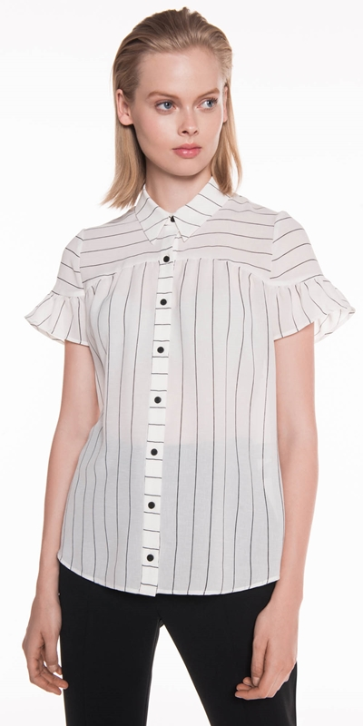 Sale  | Textured Stripe Frill Sleeve Shirt