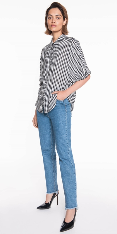 Tops | Dobby Gingham Relaxed Top