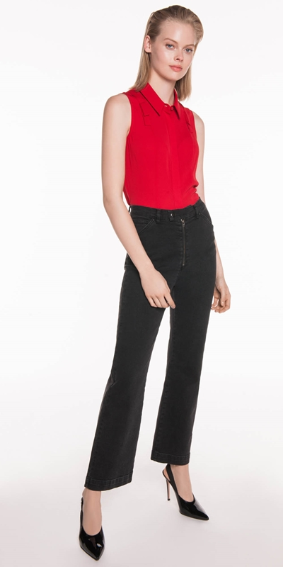 Tops | Crepe Tab Detail Sleeveless Shirt