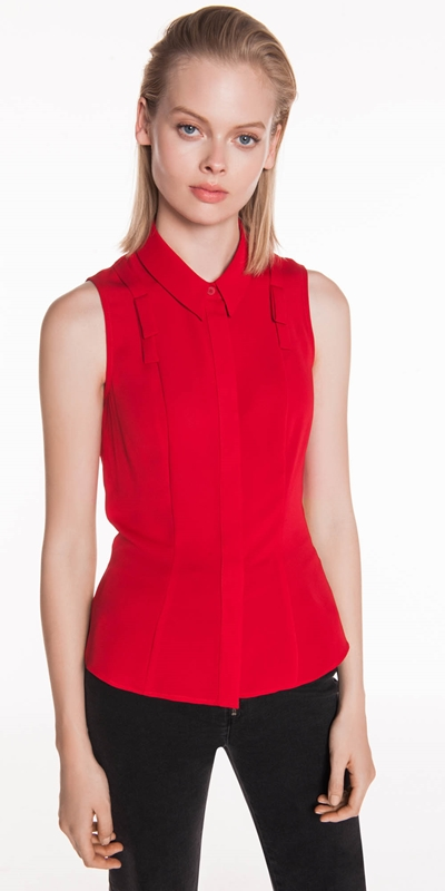 Shirts  | Crepe Tab Detail Sleeveless Shirt