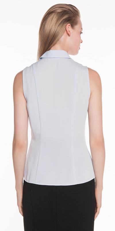Shirts | Crepe Tab Detail Sleeveless Shirt