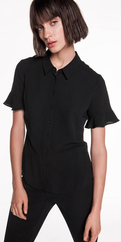 Shirts | Crepe Fluted Sleeve Shirt