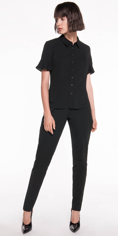 Wear to Work  | Crepe Fluted Sleeve Shirt