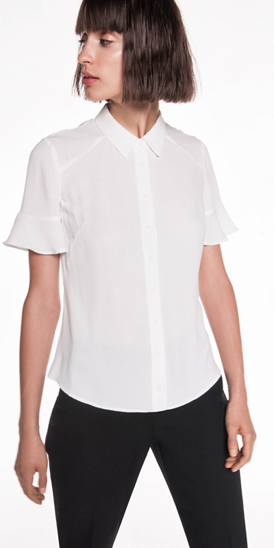 Sale | Crepe Fluted Sleeve Shirt