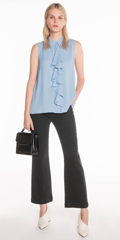 Tops  | Check Georgette Frill Shirt