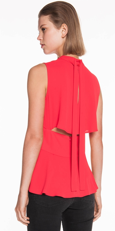 Tops | Satin Georgette Tie Back Top
