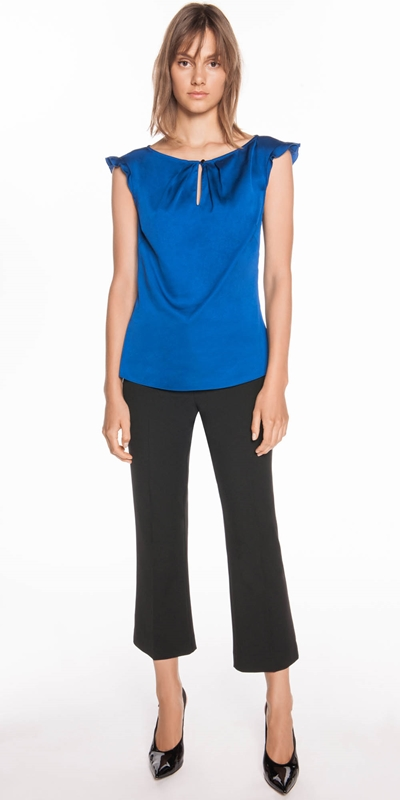 Shirts | Cobalt Satin Frill Sleeve Top