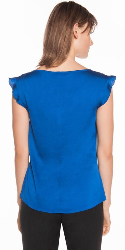 Shirts | Cobalt Satin Frill Sleeve Top