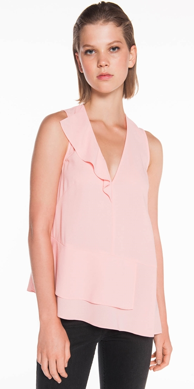 Tops  | Light Crepe Draped Frill Top