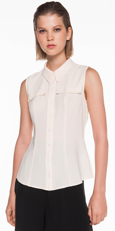 Shirts  | Light Crepe Sleeveless Shirt
