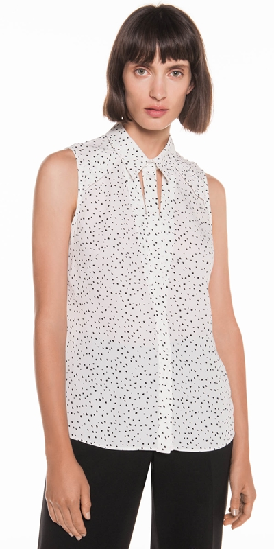 Sale  | Spot Georgette Yoke Detail Shirt