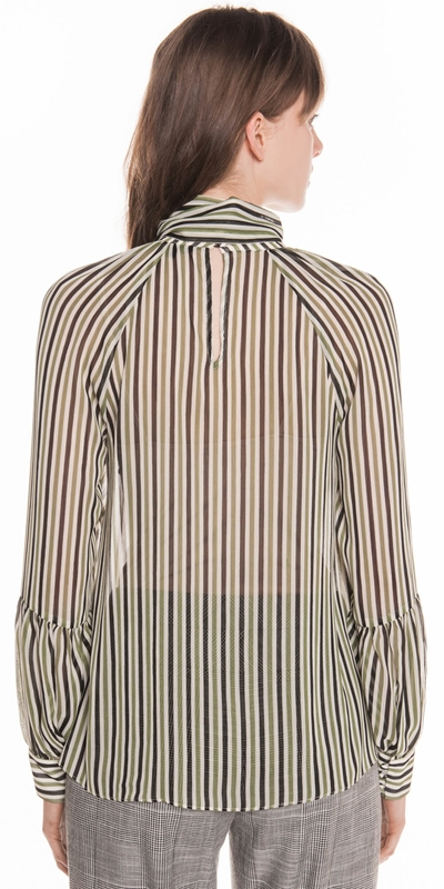 Shirts | Olive Stripe Georgette Blouse