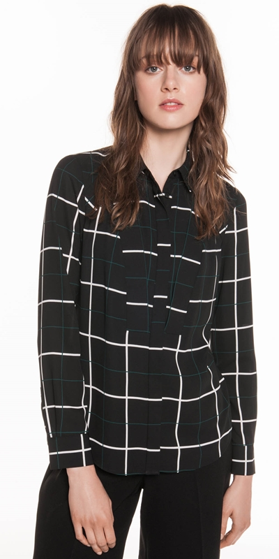 Wear to Work  | Window Check Georgette Shirt