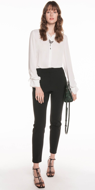 Tops | Georgette Ruched Sleeve Blouse