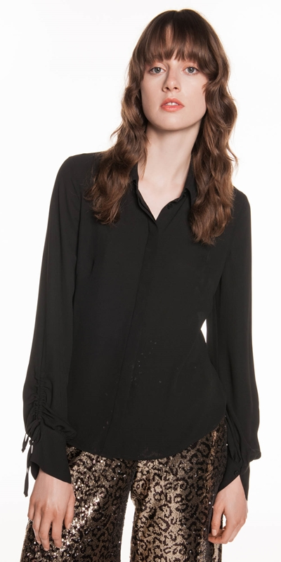 Shirts  | Georgette Ruched Sleeve Blouse