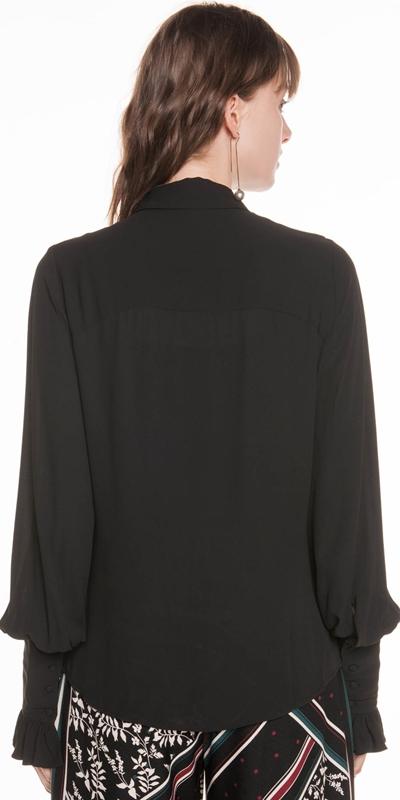 Shirts   Georgette Gathered Sleeve Shirt