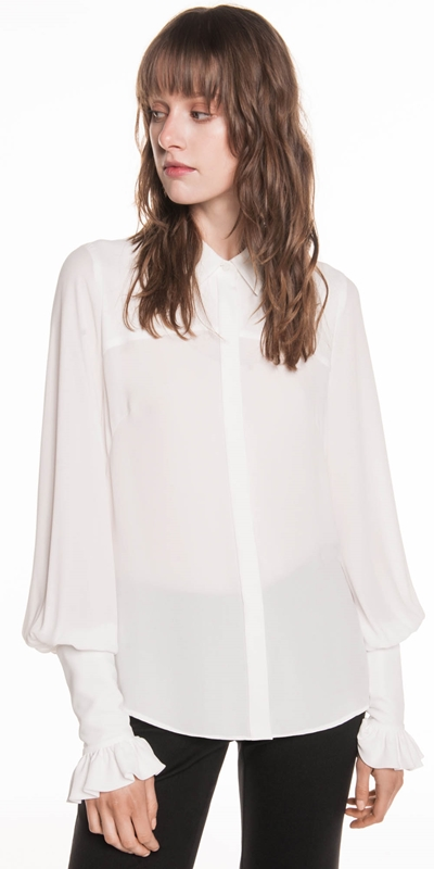 Shirts | Georgette Gathered Sleeve Shirt