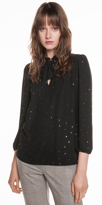 Shirts  | Foil Spot Georgette Top