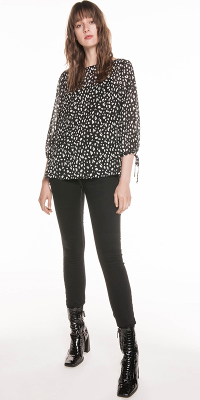 Tops | Animal Georgette Tie Sleeve Top