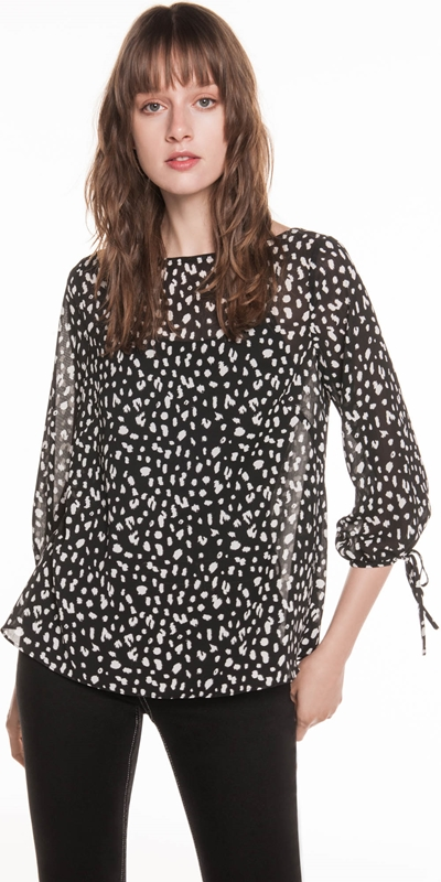 Shirts  | Animal Georgette Tie Sleeve Top