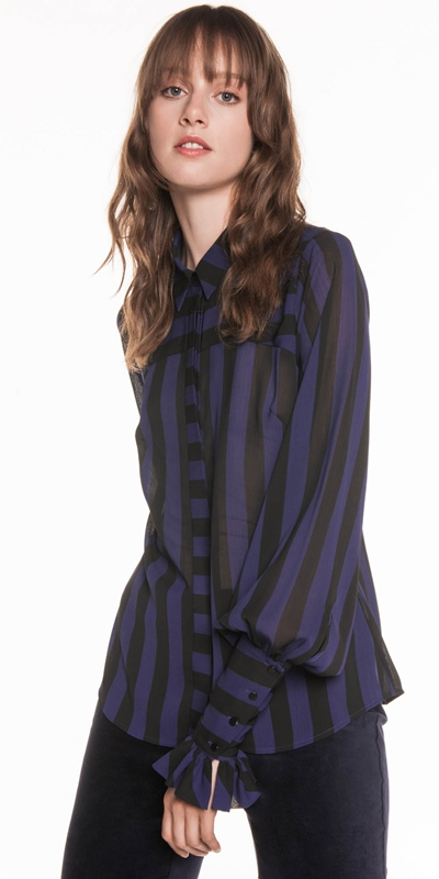 Tops  | Bold Stripe Crinkle Georgette Shirt