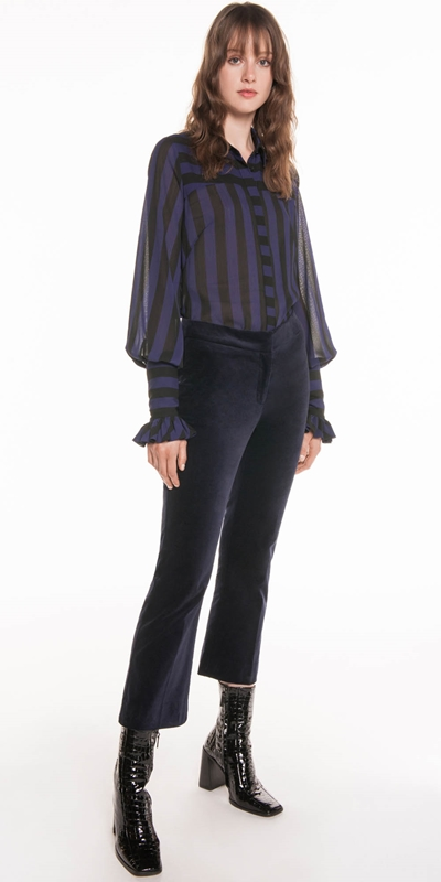 Shirts | Bold Stripe Crinkle Georgette Shirt