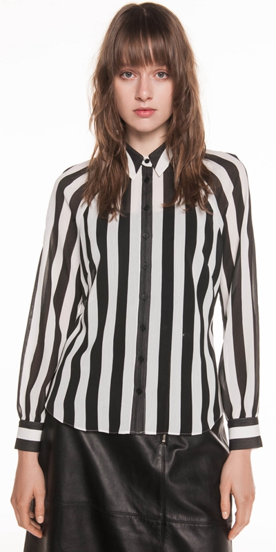 Shirts  | Bold Stripe Textured Georgette Shirt