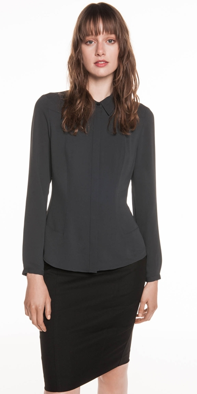 Tops  | Crepe Panelled Shirt