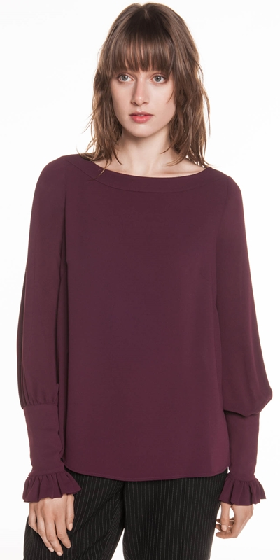 Tops  | Crepe Blouson Sleeve Top