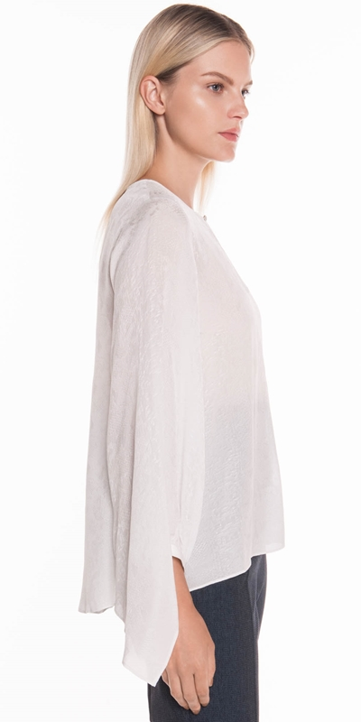 Tops  | Python Draped Cuff Blouse